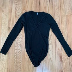 American apparel black crossover bodysuit